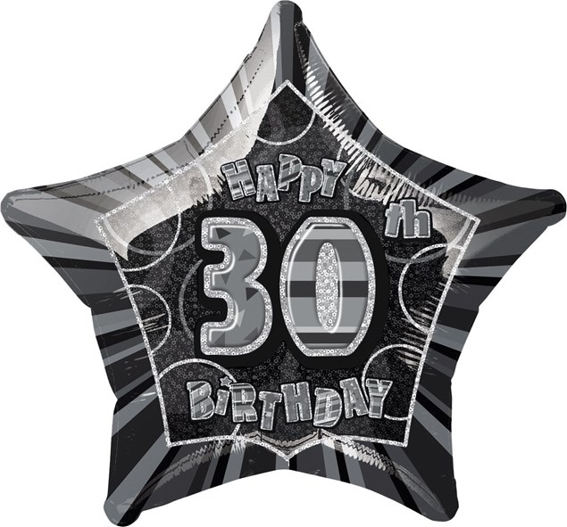 Birthday Black Glitz 30th Birthday Star Shape Foil Balloon