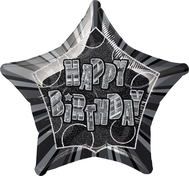 Birthday All Ages Black Glitz Happy Birthday Star Shape Foil Balloon