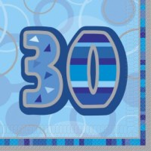 Blue Glitz 30th Birthday Napkins  – Pack of 16