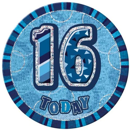 Birthday Blue Glitz Age 16 Happy Birthday Large Badge