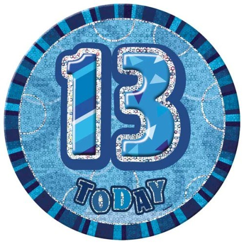 Birthday Blue Glitz Age 13th Happy Birthday Large Badge