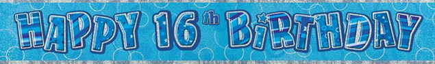 Birthday Blue Glitz 16th Birthday Banner