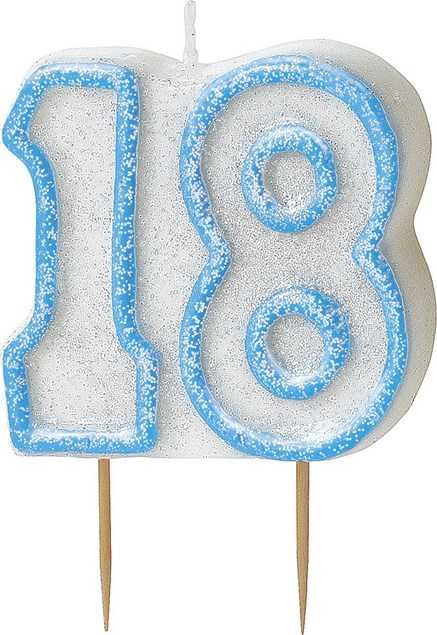 Blue Glitz Theme Number Candle – Number 18
