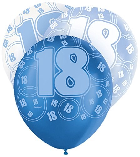 Blue Glitz 18th Birthday Latex Balloons  – Pack of 6 – Assorted Colours