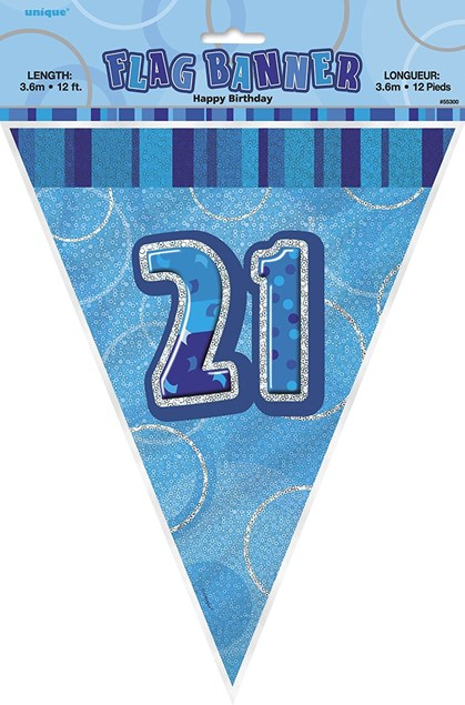 Birthday Blue Glitz 21st Bunting – 12 Ft / 3.65m