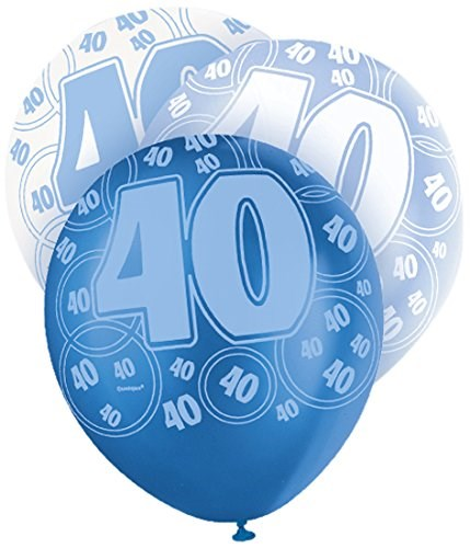 Blue Glitz 40th Birthday Latex Balloons  – Pack of 6 – Assorted Colours