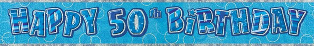 Birthday Blue Glitz 50th Birthday Banner