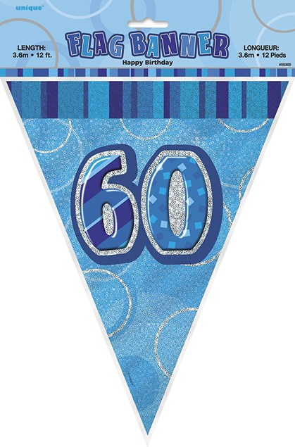 Birthday Blue Glitz 60th Bunting – 12 Ft / 3.65m
