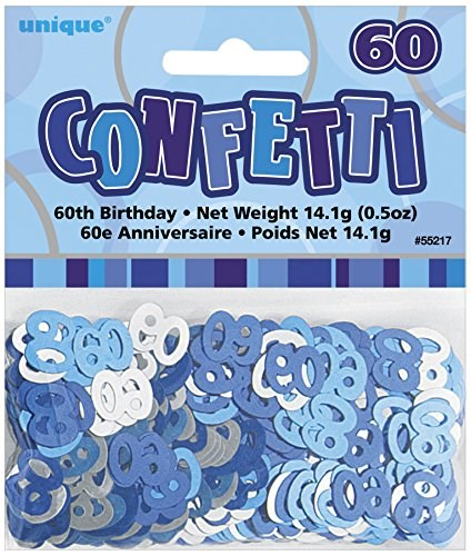 Blue Glitz 60th Birthday Table Confetti