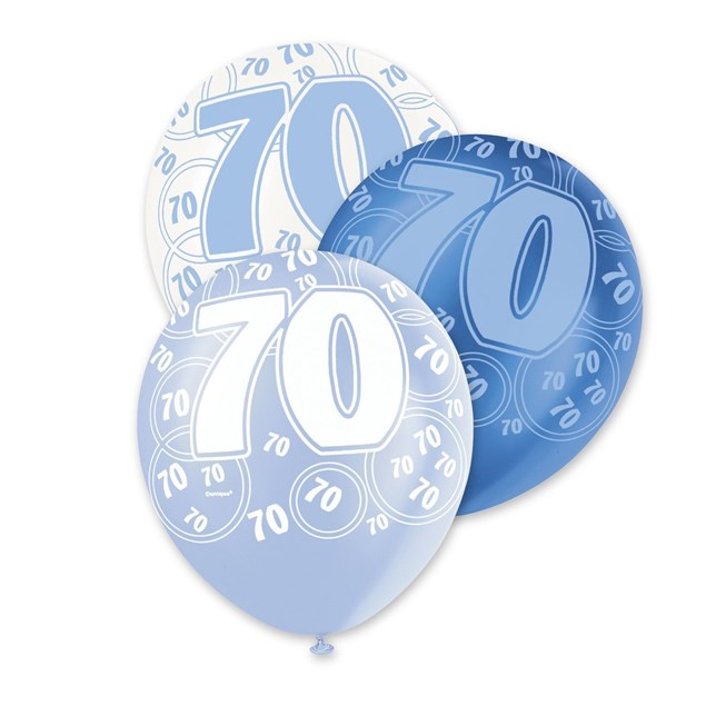 Blue Glitz 70th Birthday Latex Balloons  – Pack of 6 – Assorted Colours