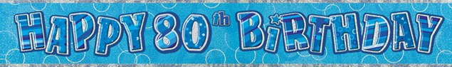 Birthday Blue Glitz 80th Birthday Banner