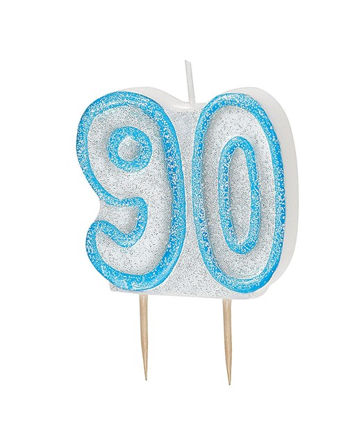 Blue Glitz Theme Number Candle – Number 90