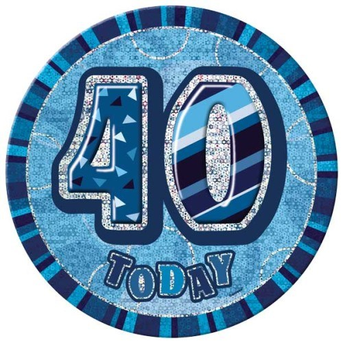 Birthday Blue Glitz Age 40 Happy Birthday Large Badge