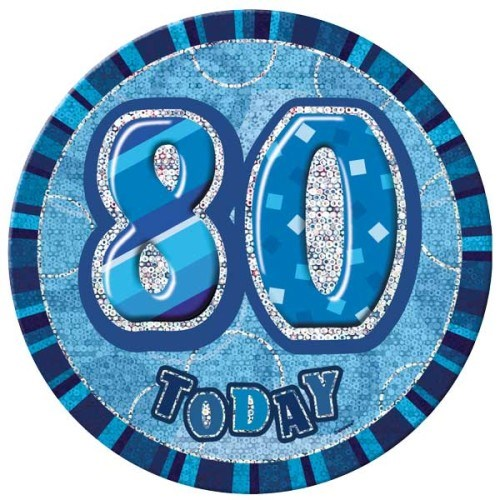 Birthday Blue Glitz Age 80 Happy Birthday Large Badge