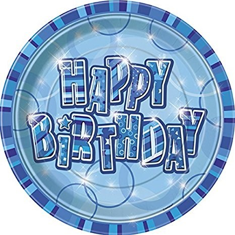 Blue Glitz Happy Birthday Paper Plates - Pack of 8