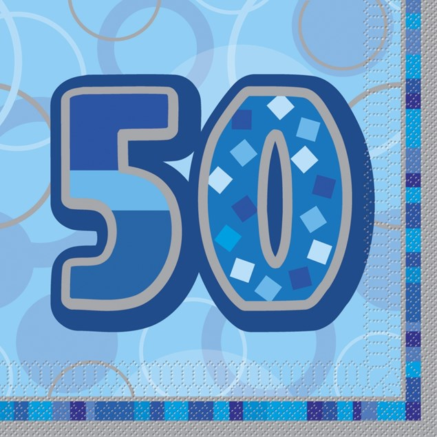 Blue Glitz 50th Birthday Napkins  – Pack of 16