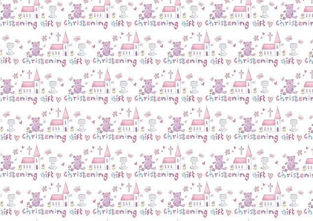 Gift Wrap Christening Baby Boy Deluxe Wrapping Paper - 2 Sheets & 1 Tag