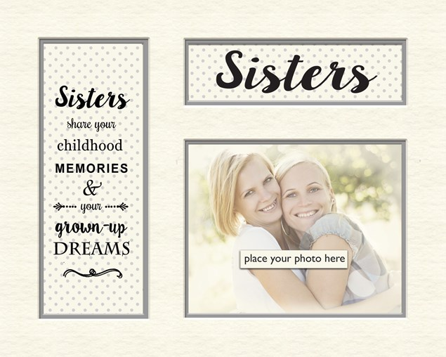 Grey Dotty Memory Photo Mount - Sisters