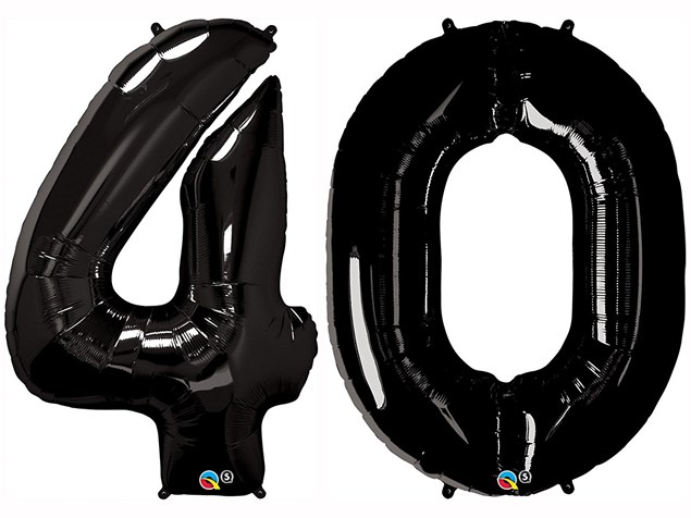 "Qualatex Black Giant 34"" Number '40' Foil Balloon Pack"