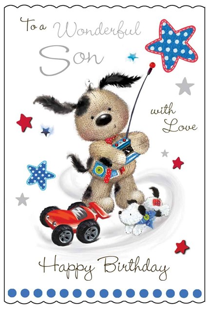Fudge & Friends To A Wonderful Son Happy Birthday Card - Puppy & Toy
