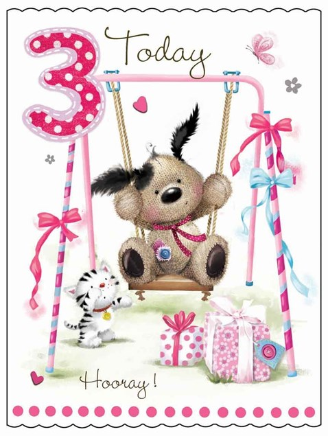 Fudge & Friends 3 Today Birthday Card - Puppy On A Swing