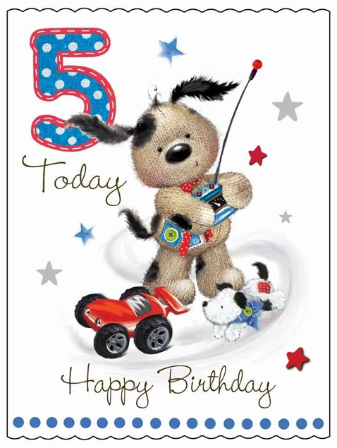 Fudge & Friends 5 Today Happy Birthday Card - Puppy & Toy