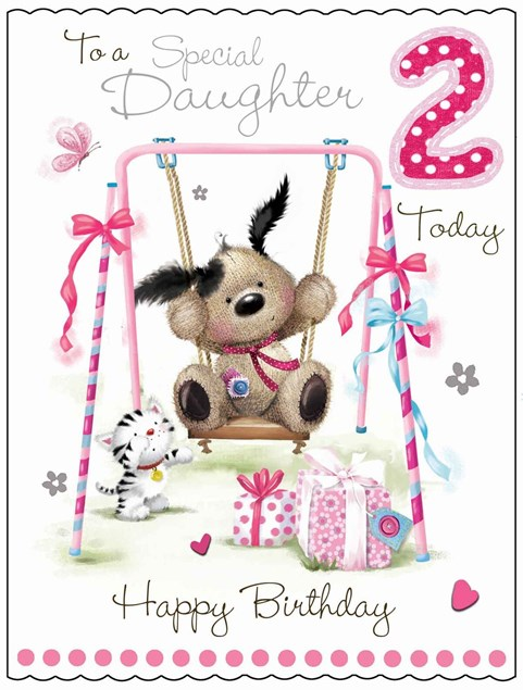 Fudge & Friends To A Special Daughter 2 Today Card - Puppy & Swing
