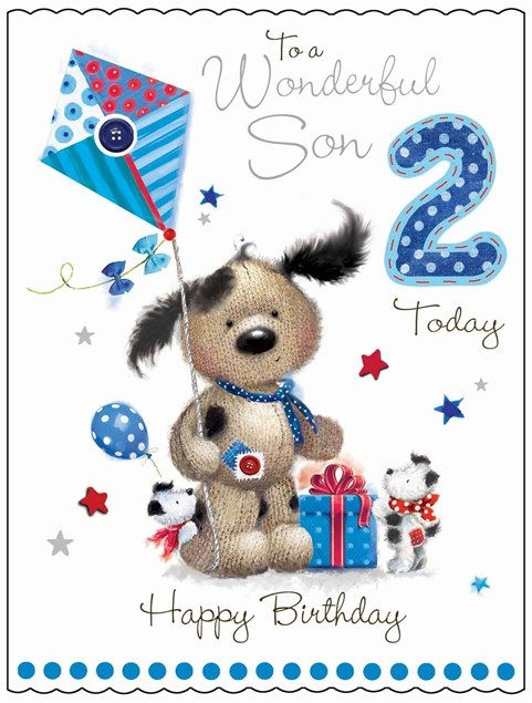 Fudge & Friends To A Wonderful Son 2 Today Card - Puppy & Kite