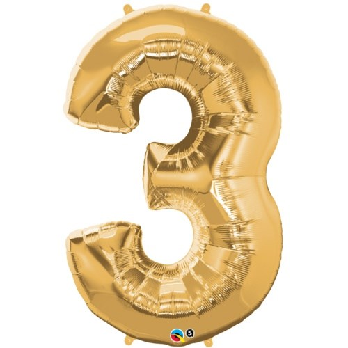 """Qualatex Gold '3' Giant 34"""" Number Foil Balloon"""