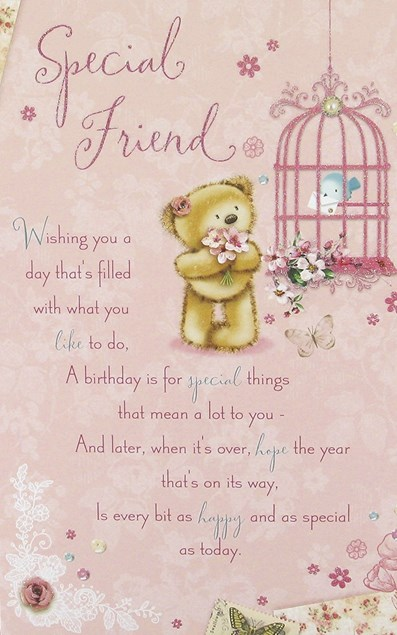 Birthday Friend Card - Cute Bear and Bird