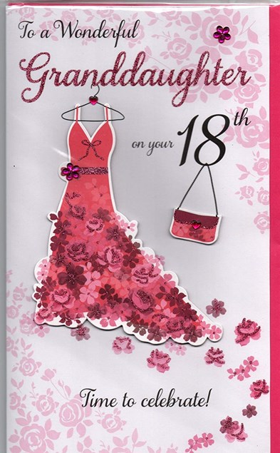 Happy 18th Birthday Granddaughter 3-D Large Card - Dressing Table Design