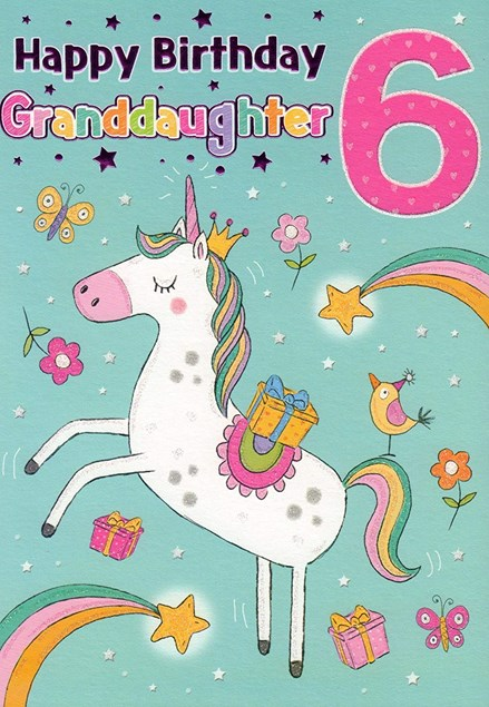 Birthday 6th Granddaughter  Card - A Cute Unicorn Surrounded By Shooting Stars!