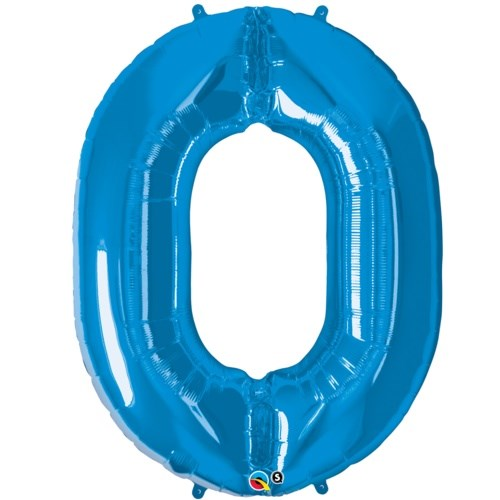 "Qualatex Blue '0' Giant 34"" Number Foil Balloon"