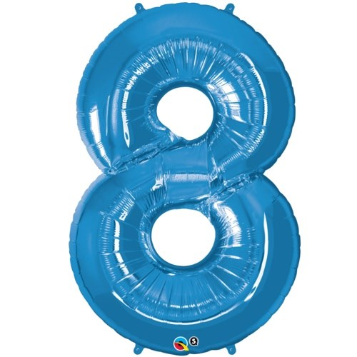 """Qualatex Blue '8' Giant 34"""" Number Foil Balloon"""