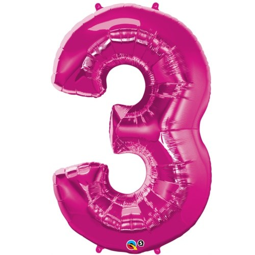 """Qualatex Magenta '3' Giant 34"""" Number Foil Balloon"""