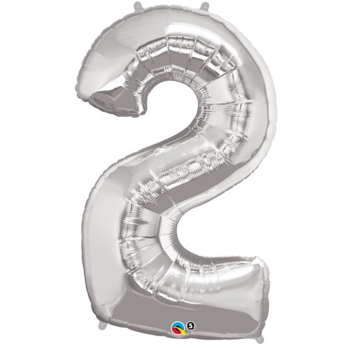 "Qualatex Silver '2' Giant 34"" Number Foil Balloon"