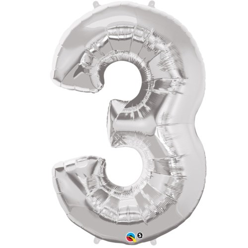 """Qualatex Silver '3' Giant 34"""" Number Foil Balloon"""