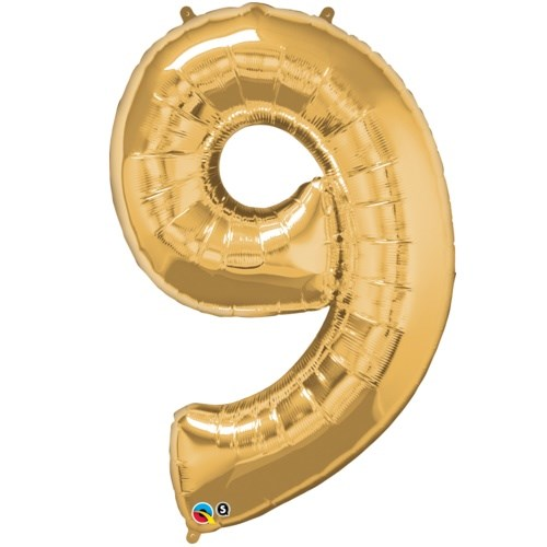 """Qualatex Gold '9' Giant 34"""" Number Foil Balloon"""