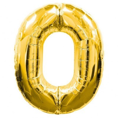 """Qualatex Gold '0' Giant 34"""" Number Foil Balloon"""