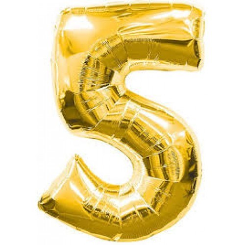 "Qualatex Gold '5' Giant 34"" Number Foil Balloon"