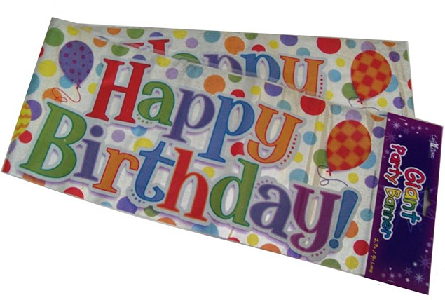 Party All Ages Birthday Banner - Multicoloured Holographic