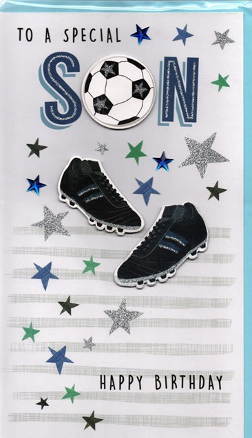 Birthday Son 3-D Large Card - Mobile, Trainers and Baseball Cap Design