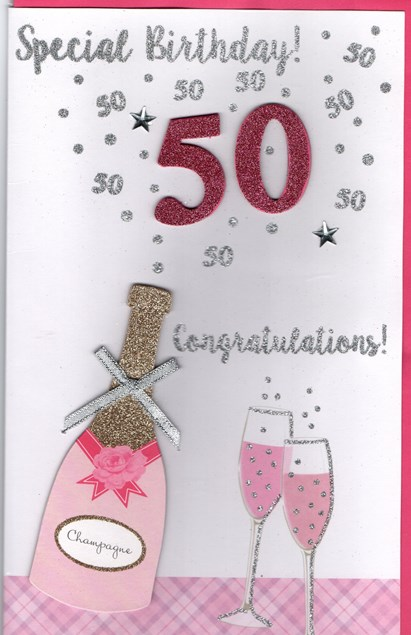 Birthday Age 50th Large Card - Champagne 3D Design