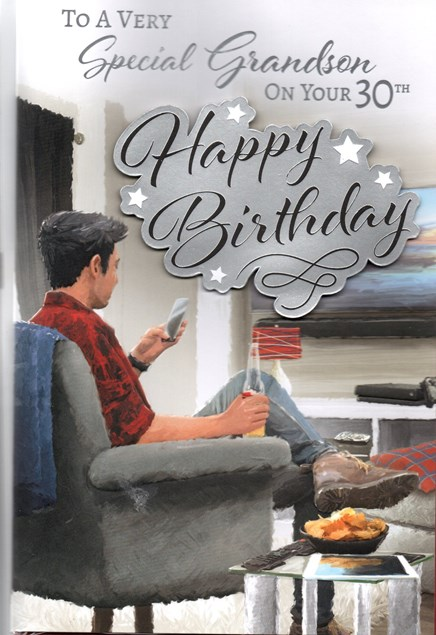 Birthday Age 30th Grandson Card - Mobile Phone & Beer