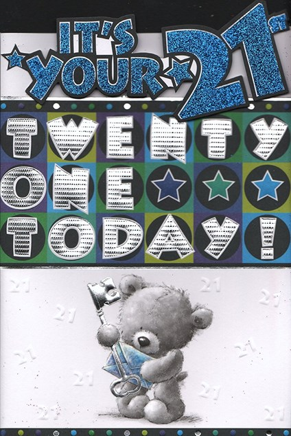 Birthday Age 21st Card - `Its Your 21st, Twenty One Today'