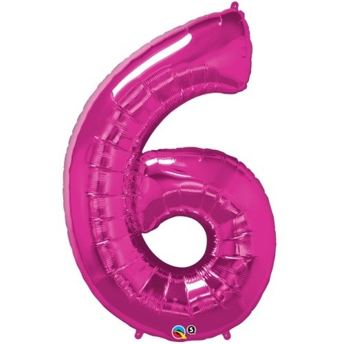 """Qualatex Pink '6' Giant 34"""" Number Foil Balloon"""