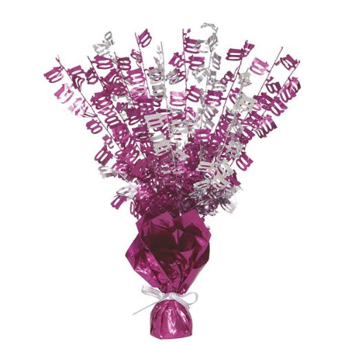 Pink Glitz Age One Hundred Balloon Weight Centrepiece