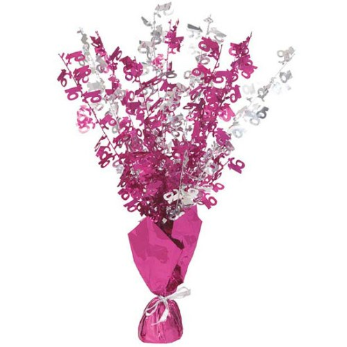 Pink Glitz 16th Balloon Weight Centrepiece