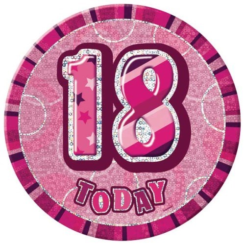 Birthday Pink Glitz Age 18 Happy Birthday Large Badge