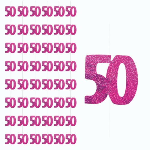 Pink Glitz 50th Birthday Hanging Decoration - Pack of 6 Strings